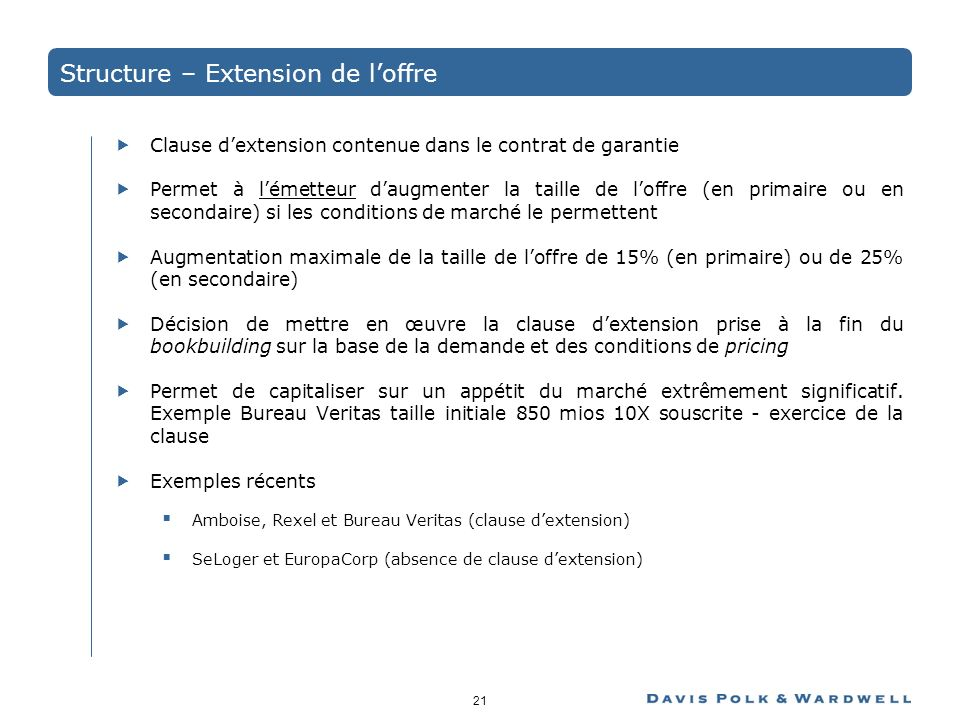 Structure – Extension de l'offre