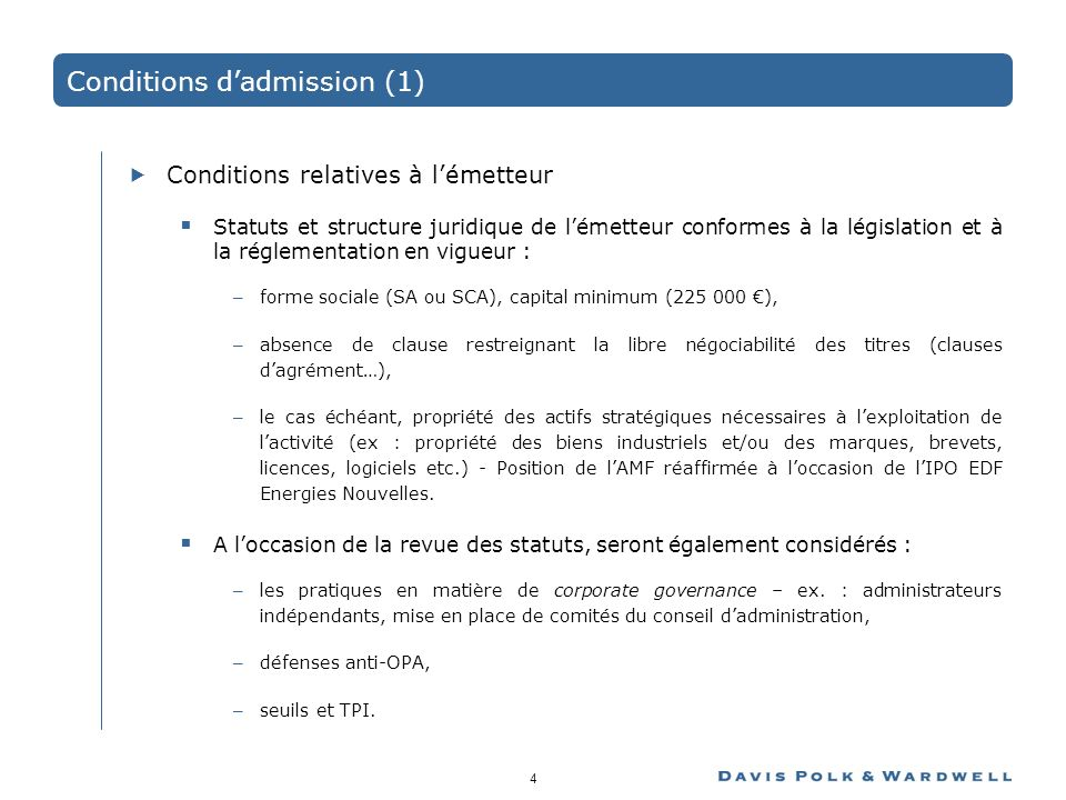 Conditions d'admission (1)