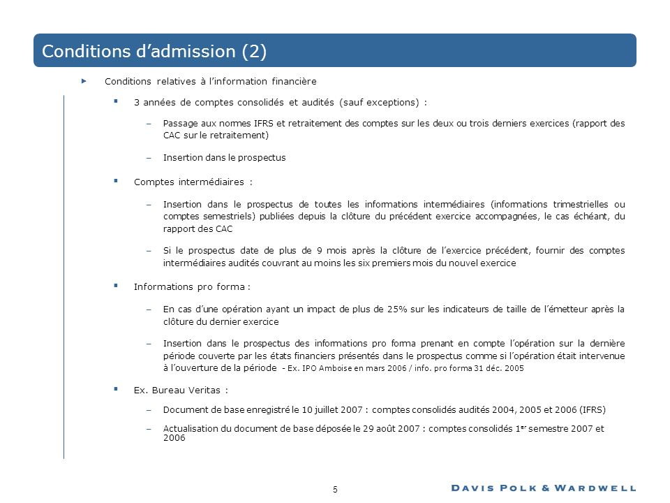 Conditions d'admission (2)