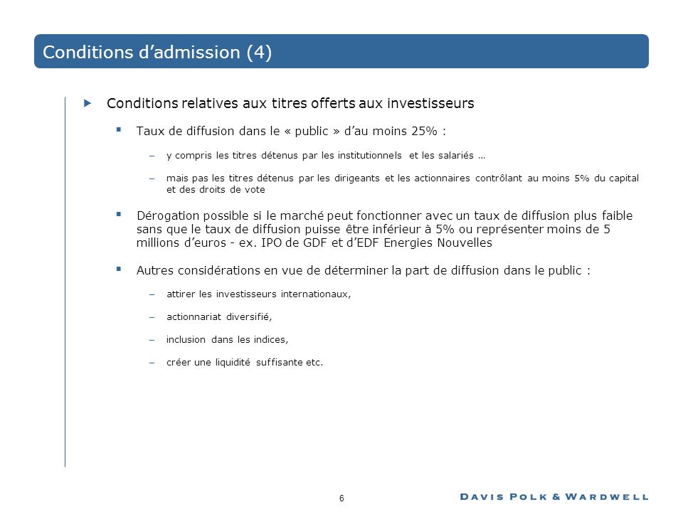 Conditions d'admission (4)