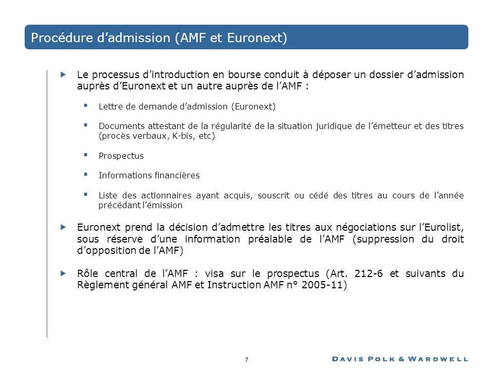 Procédure d'admission (AMF et Euronext)