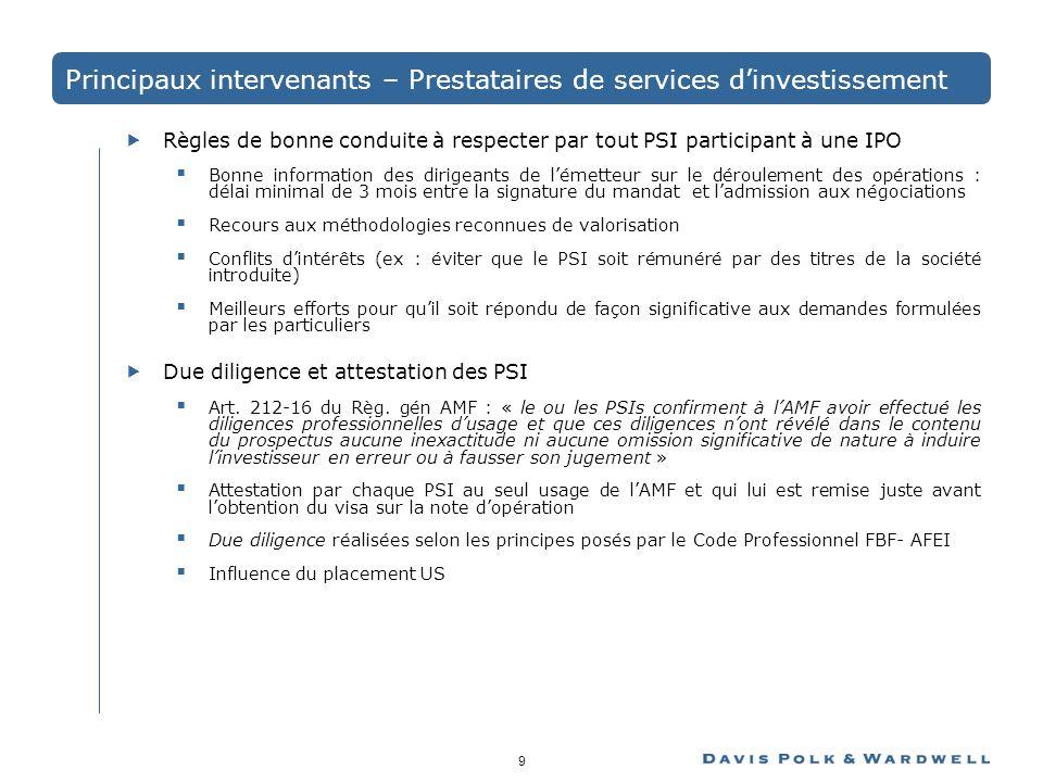 Principaux intervenants – Prestataires de services d'investissement