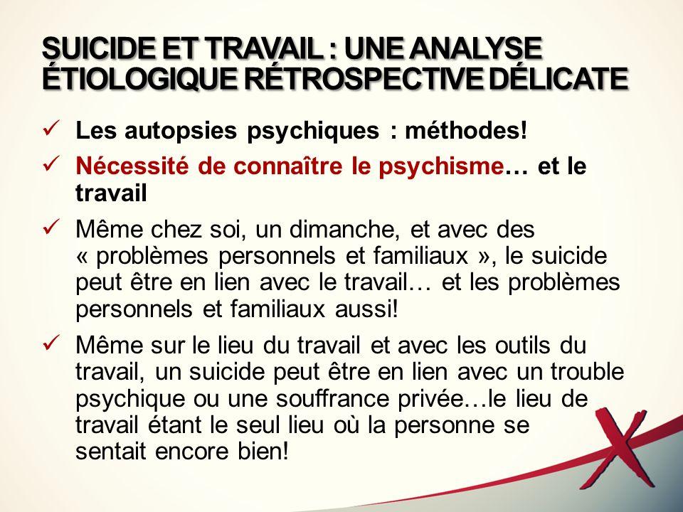SUICIDE ET TRAVAIL : UNE ANALYSE ÉTIOLOGIQUE RÉTROSPECTIVE DÉLICATE