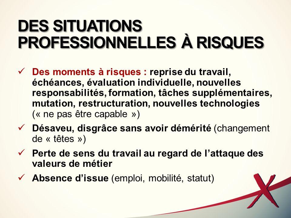 DES SITUATIONS PROFESSIONNELLES À RISQUES