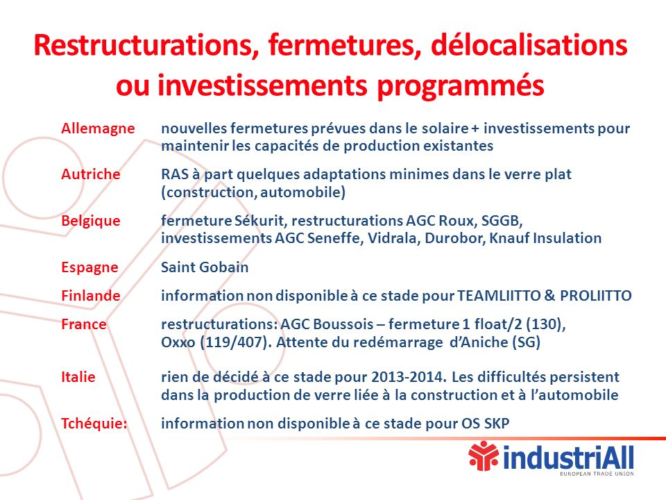 Restructurations, fermetures, délocalisations ou investissements programmés