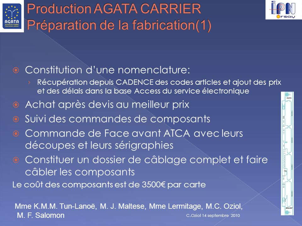 Production AGATA CARRIER Préparation de la fabrication(1)