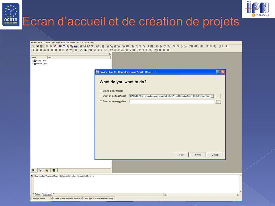 Ecran d'accueil et de création de projets