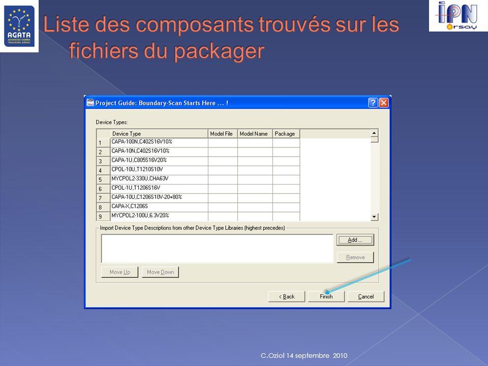 Liste des composants trouvés sur les fichiers du packager