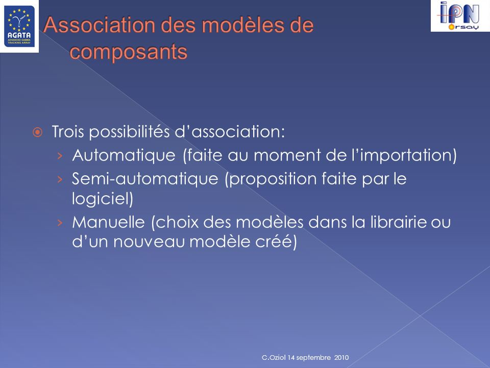 Association des modèles de composants