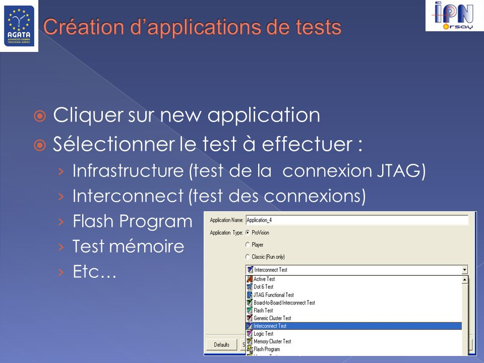 Création d'applications de tests