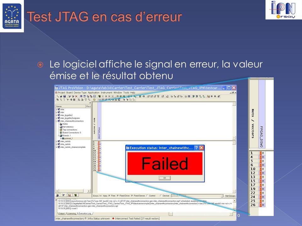 Test JTAG en cas d'erreur