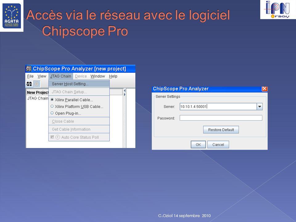 Accès via le réseau avec le logiciel Chipscope Pro