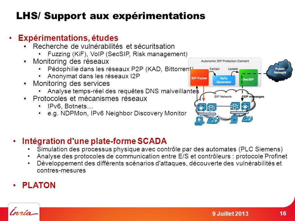 LHS/ Support aux expérimentations