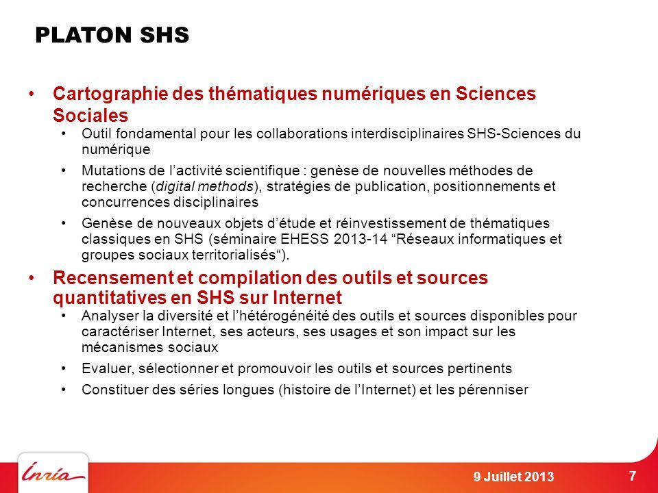 PLATON SHS Cartographie des thématiques numériques en Sciences Sociales.