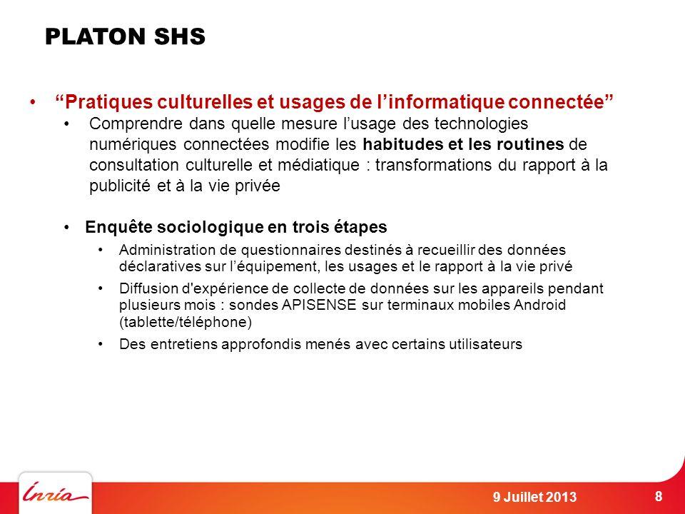 PLATON SHS Pratiques culturelles et usages de l'informatique connectée