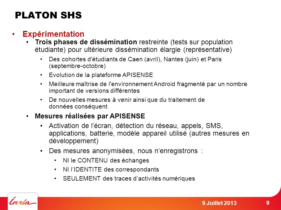 PLATON SHS Expérimentation