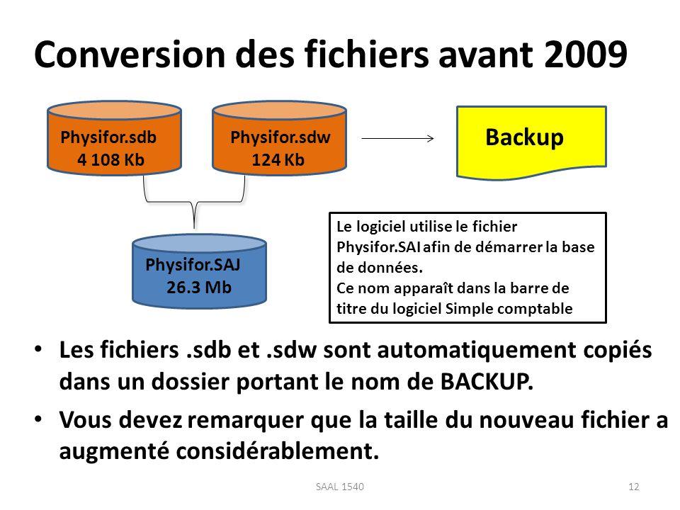 Conversion des fichiers avant 2009