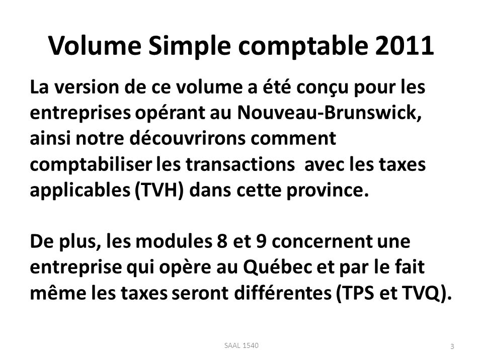 Volume Simple comptable 2011