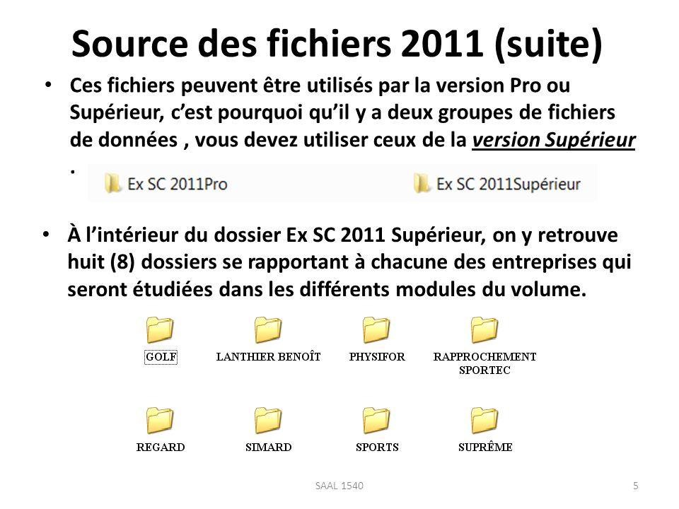 Source des fichiers 2011 (suite)