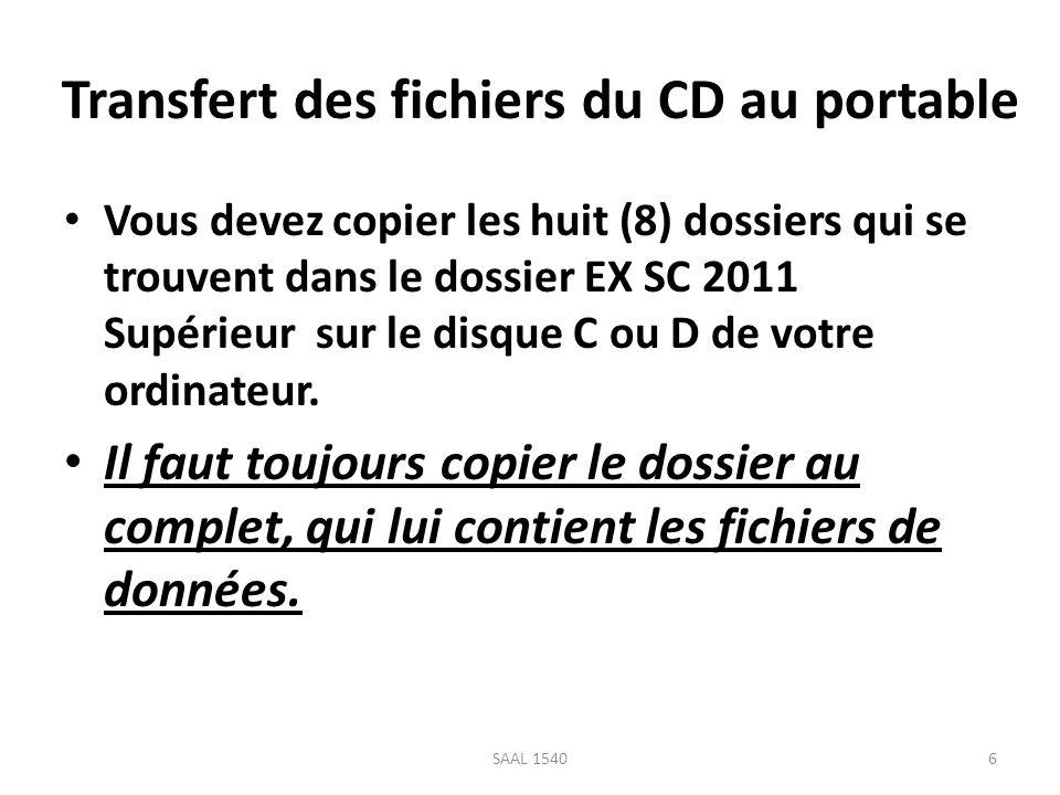 Transfert des fichiers du CD au portable