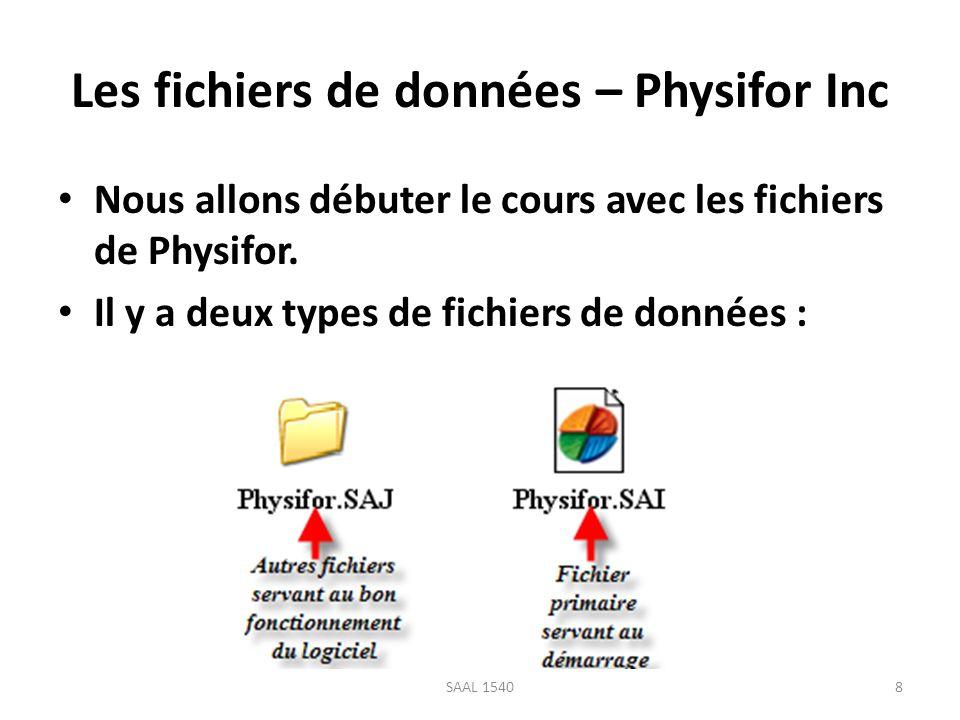 Les fichiers de données – Physifor Inc