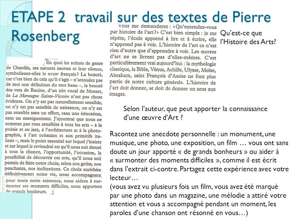 ETAPE 2 travail sur des textes de Pierre Rosenberg