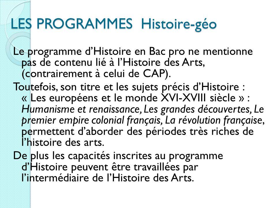 LES PROGRAMMES Histoire-géo