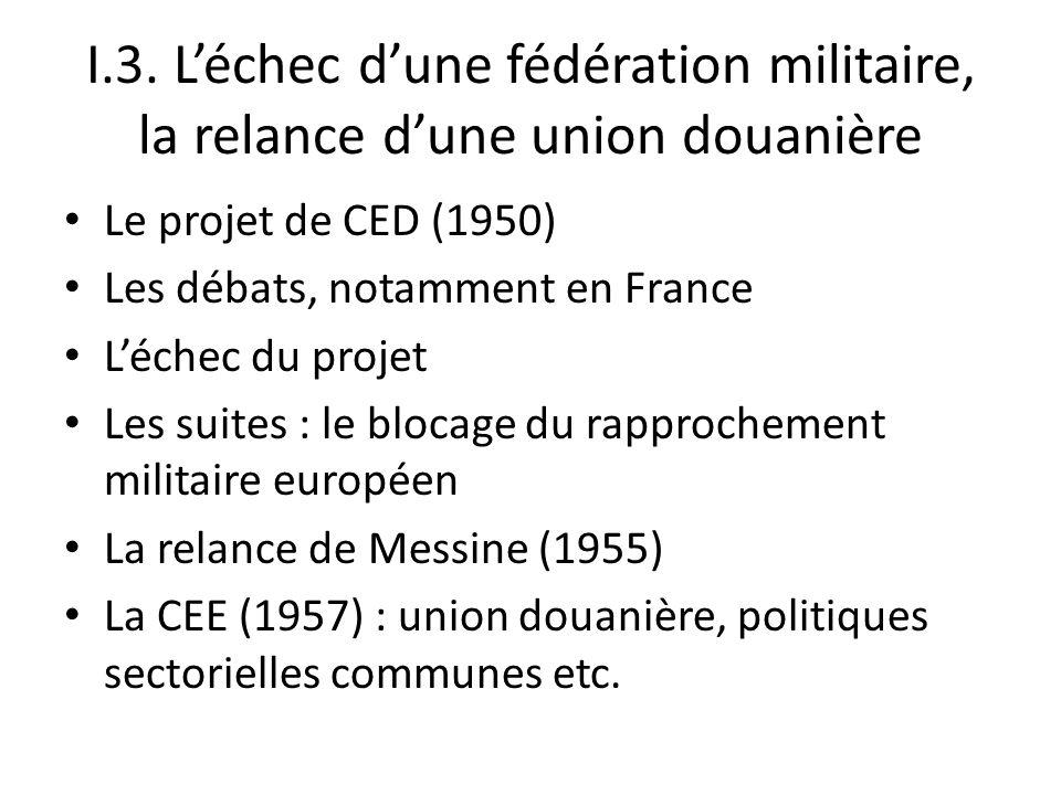 I.3. L'échec d'une fédération militaire, la relance d'une union douanière