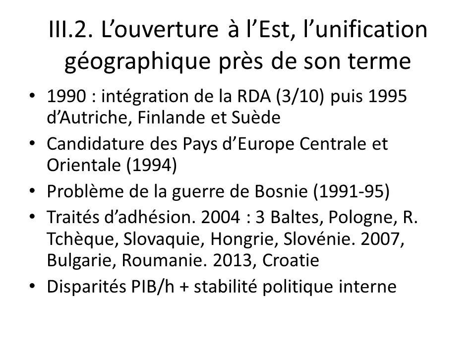 III.2. L'ouverture à l'Est, l'unification géographique près de son terme