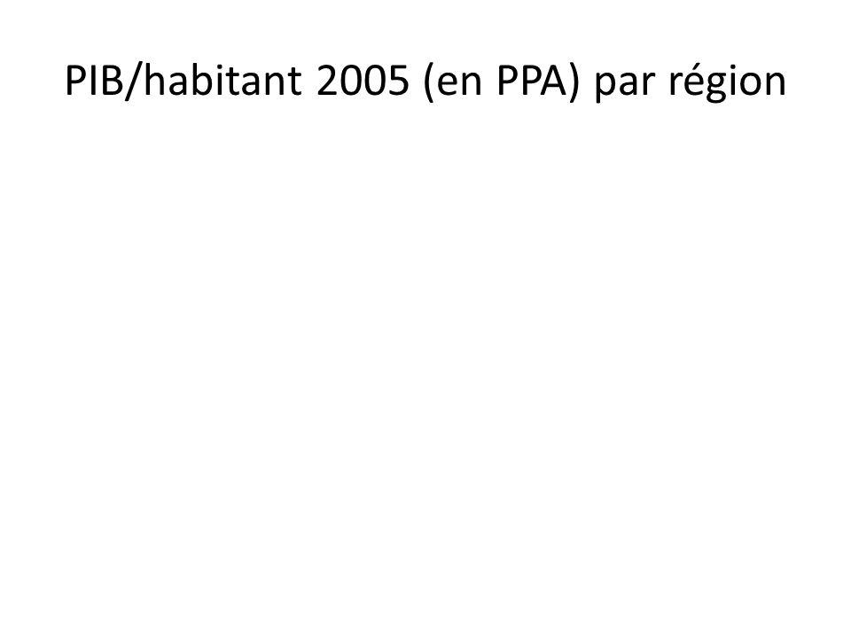 PIB/habitant 2005 (en PPA) par région