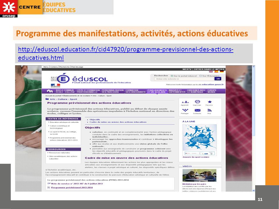 Programme des manifestations, activités, actions éducatives