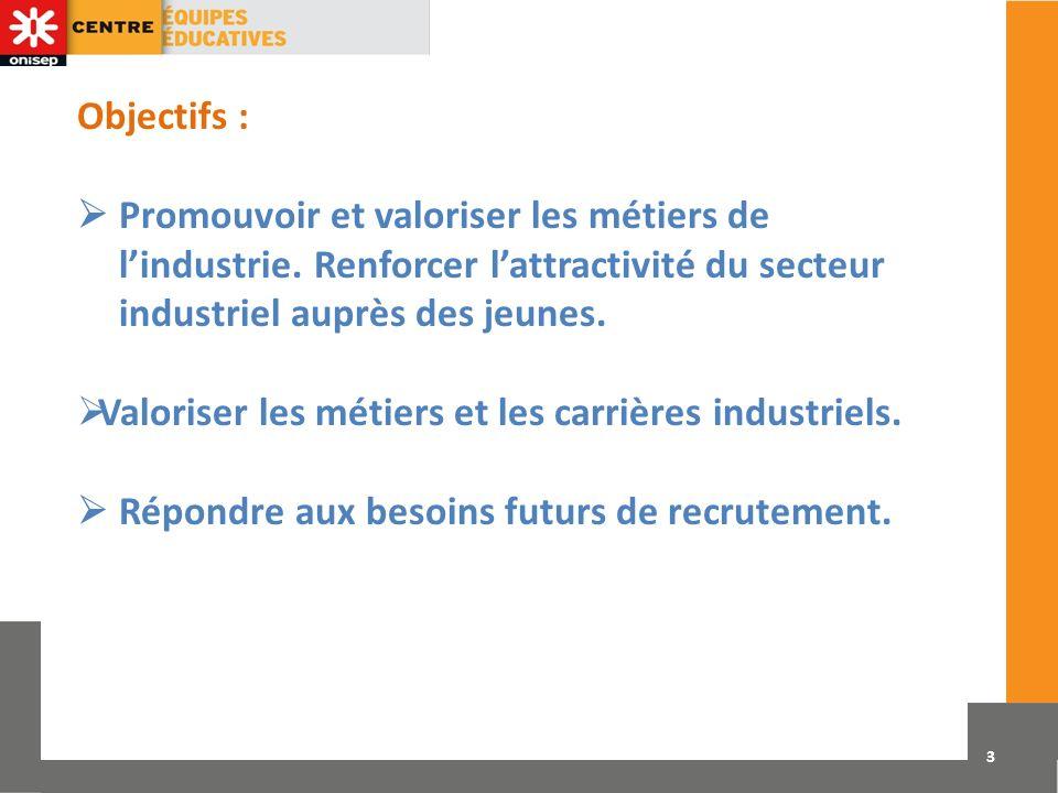 Objectifs :  Promouvoir et valoriser les métiers de l'industrie. Renforcer l'attractivité du secteur industriel auprès des jeunes.