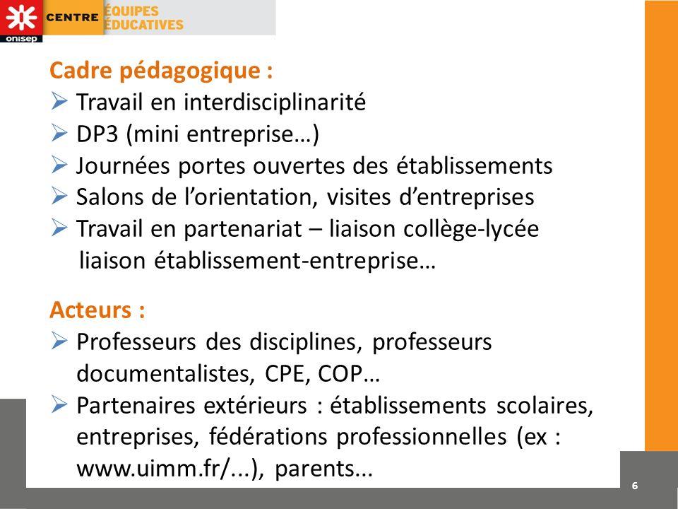 Cadre pédagogique :  Travail en interdisciplinarité.  DP3 (mini entreprise…)  Journées portes ouvertes des établissements.