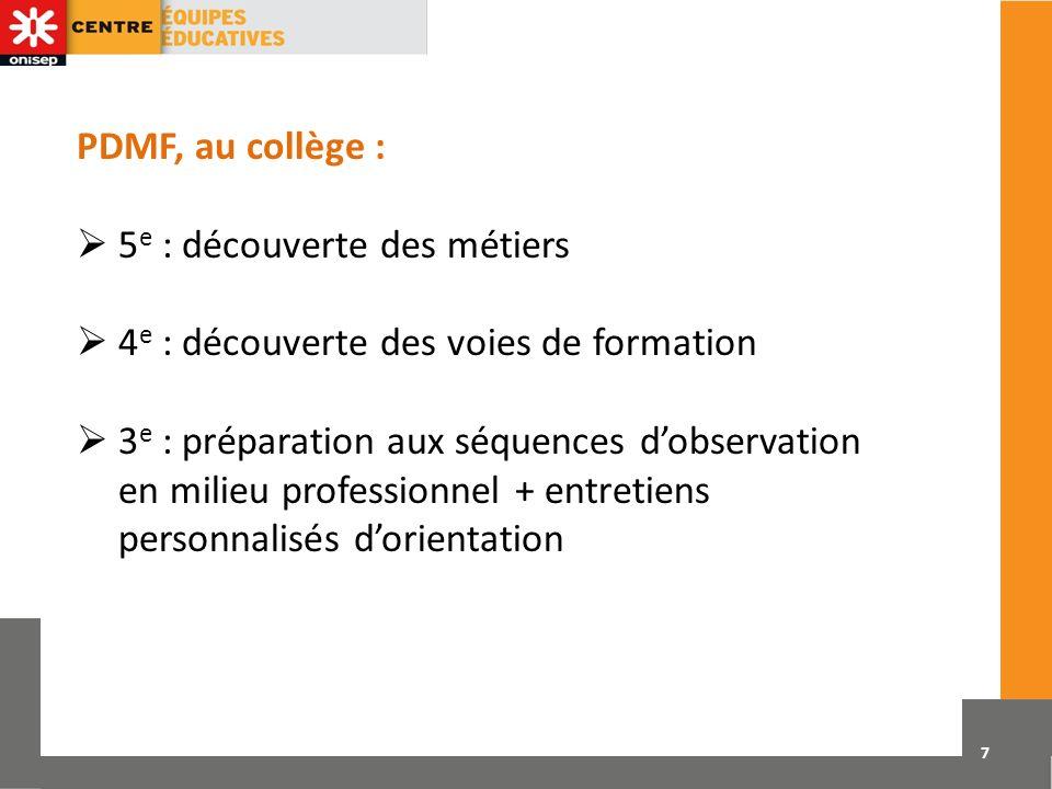 PDMF, au collège :  5e : découverte des métiers.  4e : découverte des voies de formation.