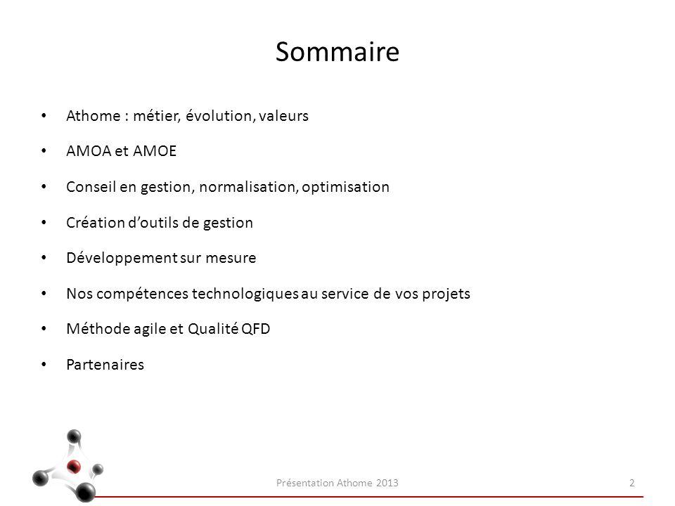 Sommaire Athome : métier, évolution, valeurs AMOA et AMOE