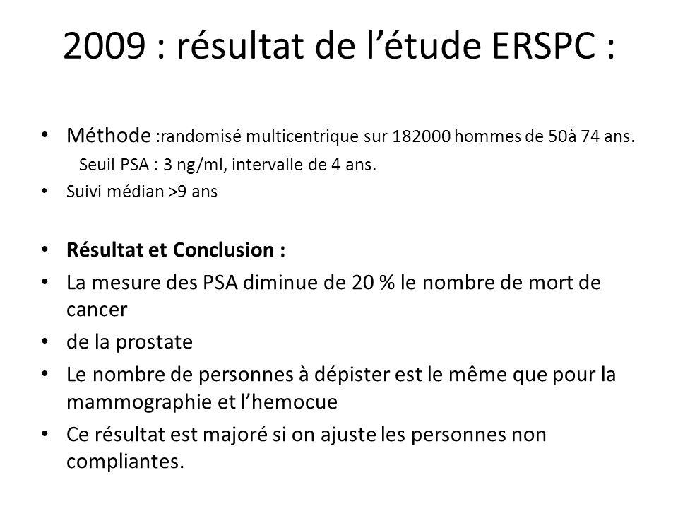 2009 : résultat de l'étude ERSPC :
