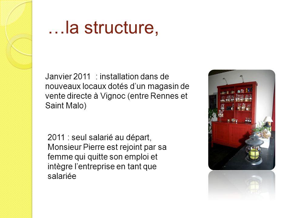 …la structure, Janvier 2011 : installation dans de nouveaux locaux dotés d'un magasin de vente directe à Vignoc (entre Rennes et Saint Malo)