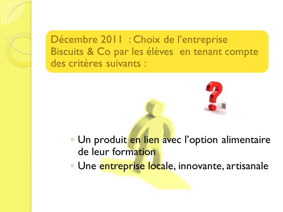 Décembre 2011 : Choix de l'entreprise Biscuits & Co par les élèves en tenant compte des critères suivants :