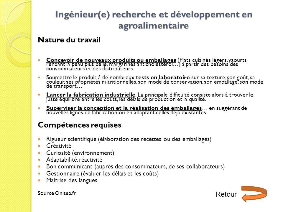 Ingénieur(e) recherche et développement en agroalimentaire