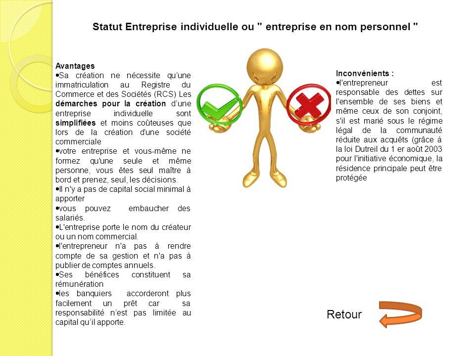 Statut Entreprise individuelle ou entreprise en nom personnel