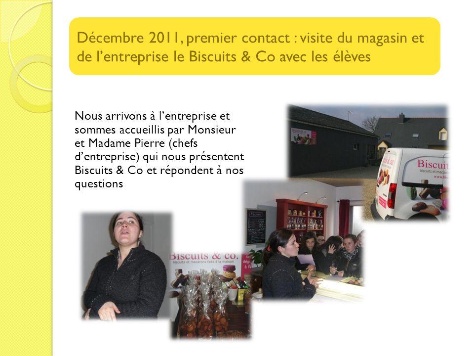 Décembre 2011, premier contact : visite du magasin et de l'entreprise le Biscuits & Co avec les élèves