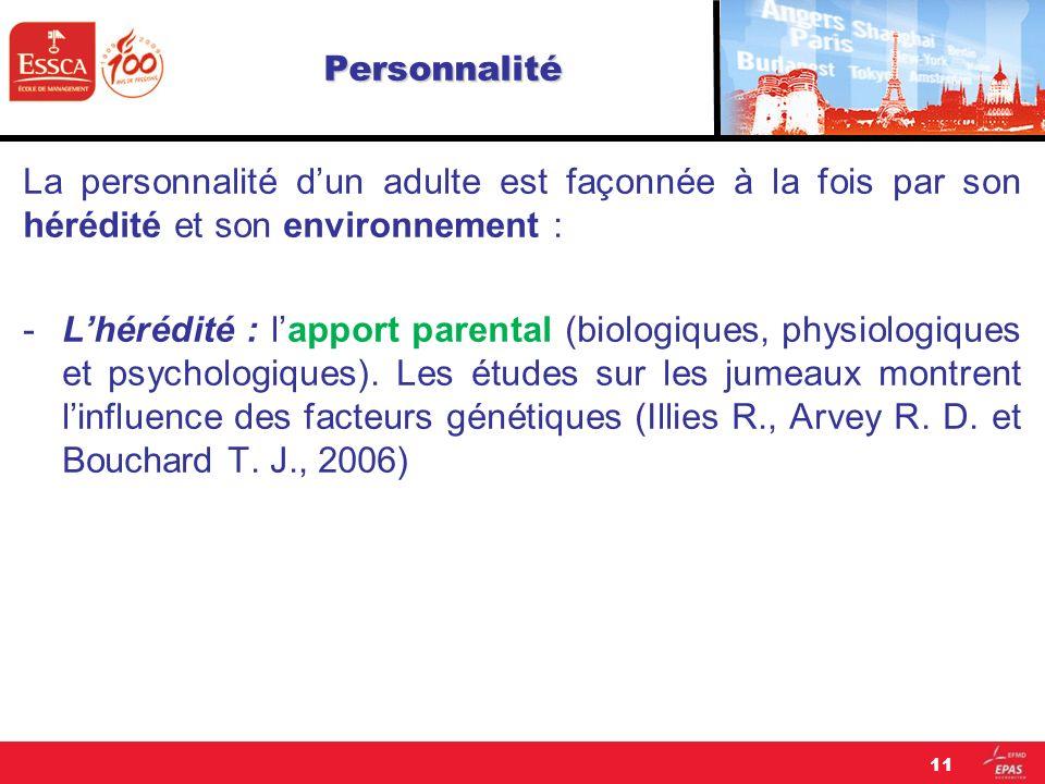 Personnalité La personnalité d'un adulte est façonnée à la fois par son hérédité et son environnement :