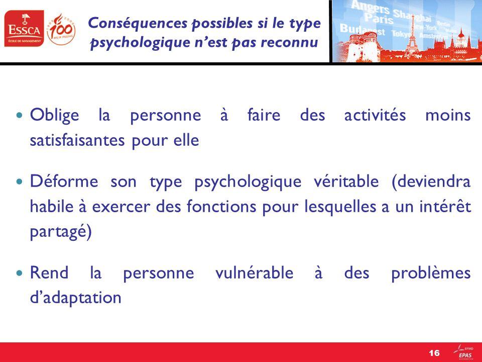 Conséquences possibles si le type psychologique n'est pas reconnu