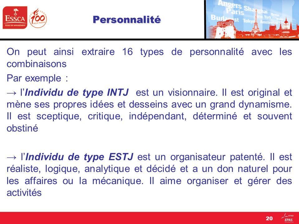 Personnalité On peut ainsi extraire 16 types de personnalité avec les combinaisons. Par exemple :