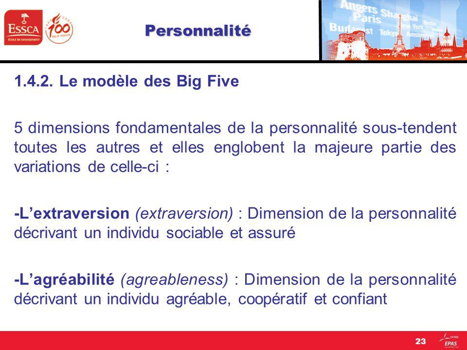 Personnalité 1.4.2. Le modèle des Big Five.