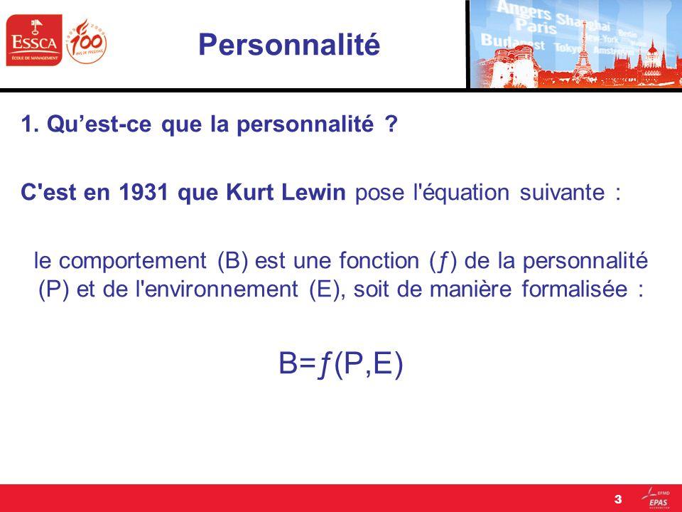 Personnalité B=ƒ(P,E) 1. Qu'est-ce que la personnalité