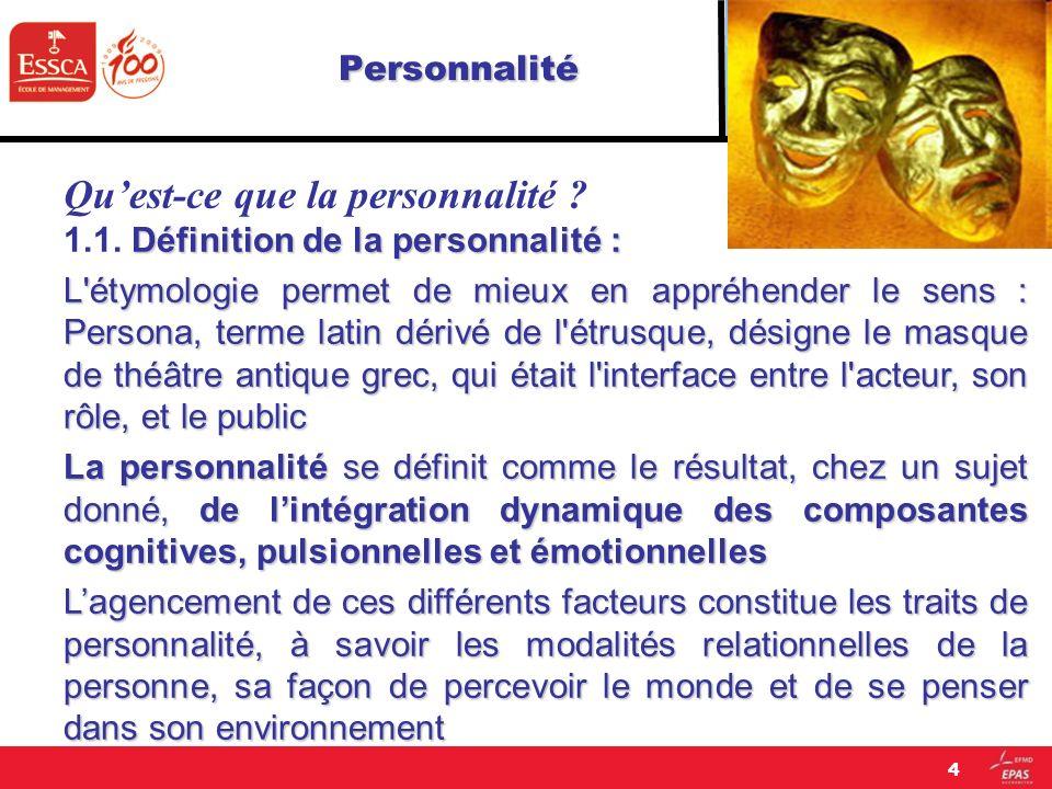 Personnalité Qu'est-ce que la personnalité
