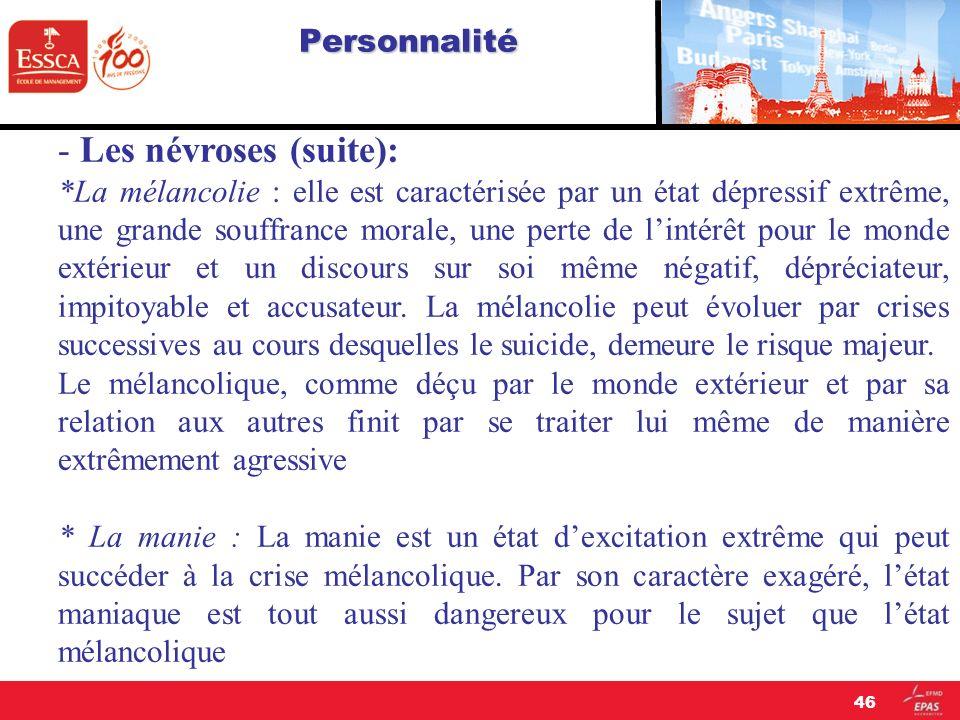 - Les névroses (suite):