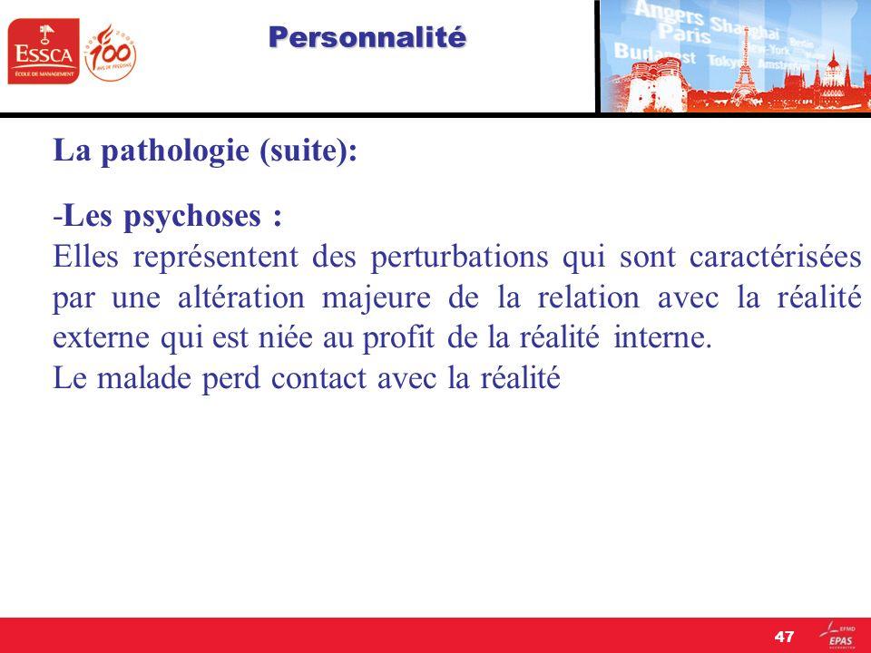 La pathologie (suite): -Les psychoses :