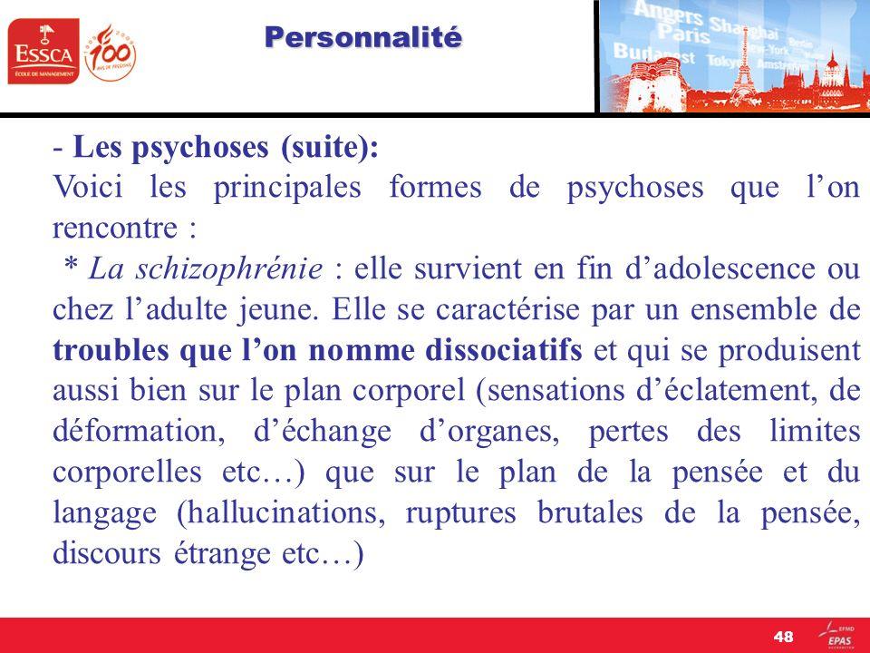 - Les psychoses (suite):